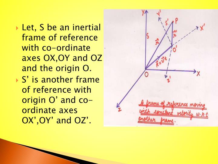 Let, S be an inertial frame of reference with