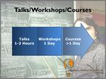 talks workshops courses
