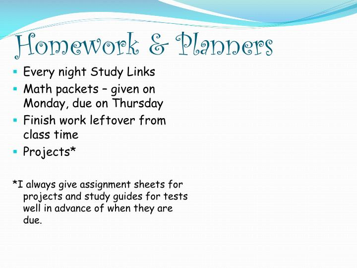 Homework & Planners