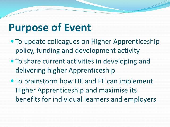 Purpose of event