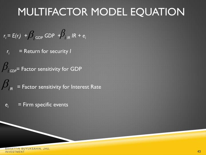 Multifactor Model Equation