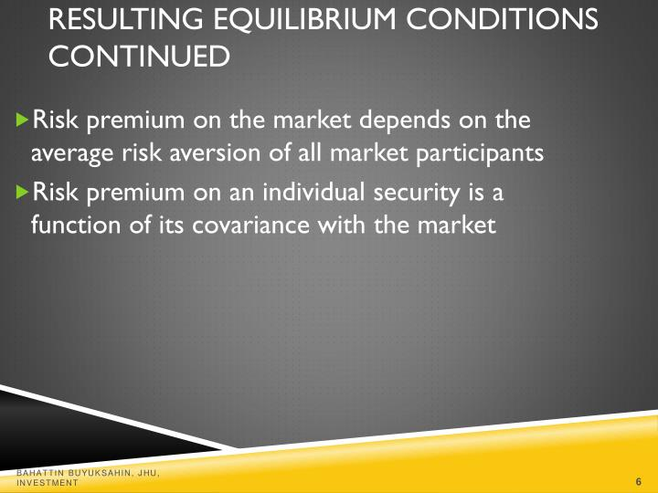 Risk premium on the market depends on the average risk aversion of all market participants