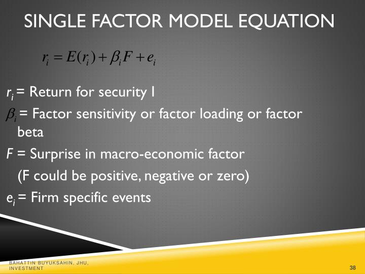 Single Factor Model Equation