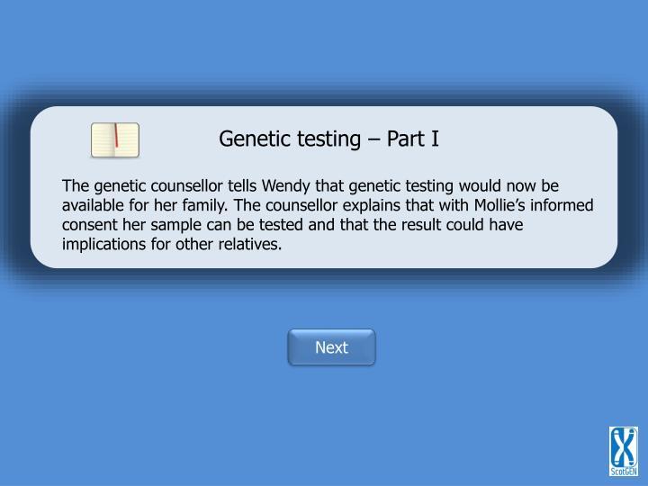 Genetic testing – Part I