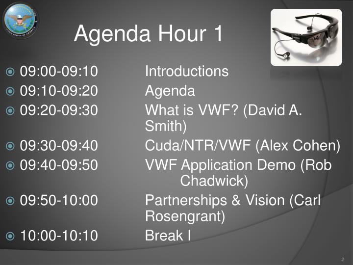 Agenda hour 1