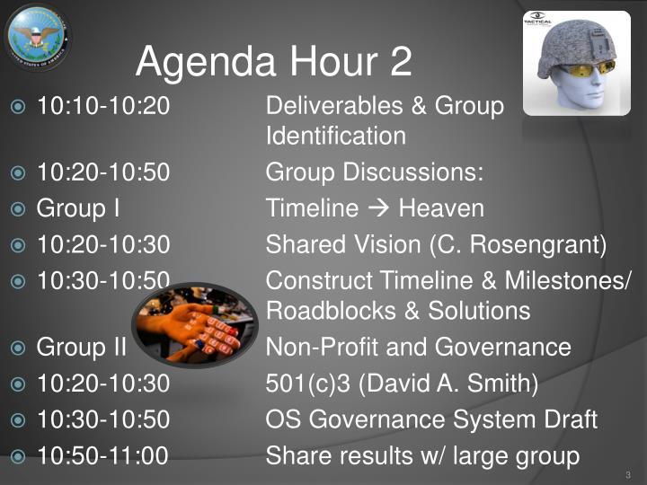 Agenda hour 2