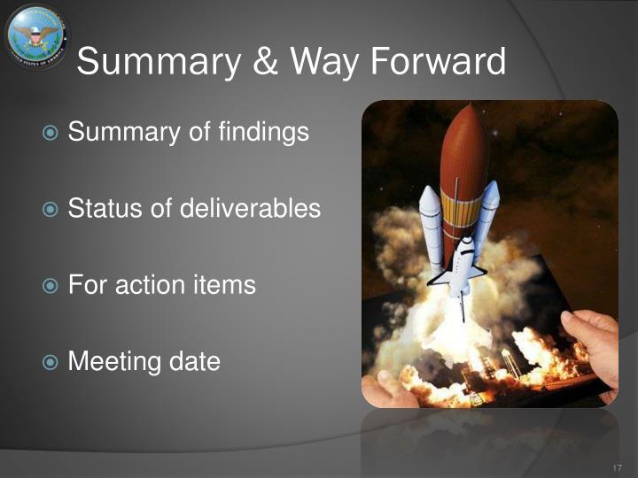 Summary & Way Forward