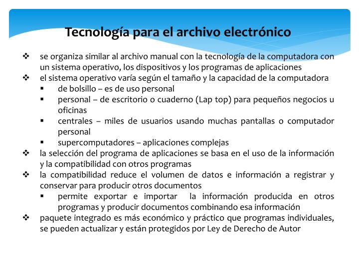 Tecnología para el archivo electrónico