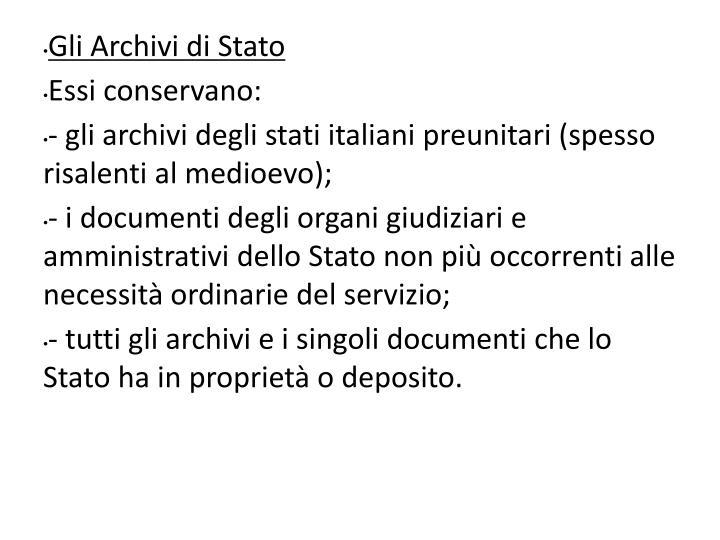 Gli Archivi di Stato