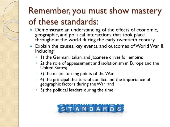 Remember, you must show mastery of these standards: