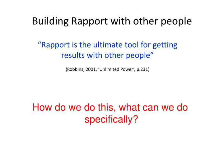 Building Rapport with other people