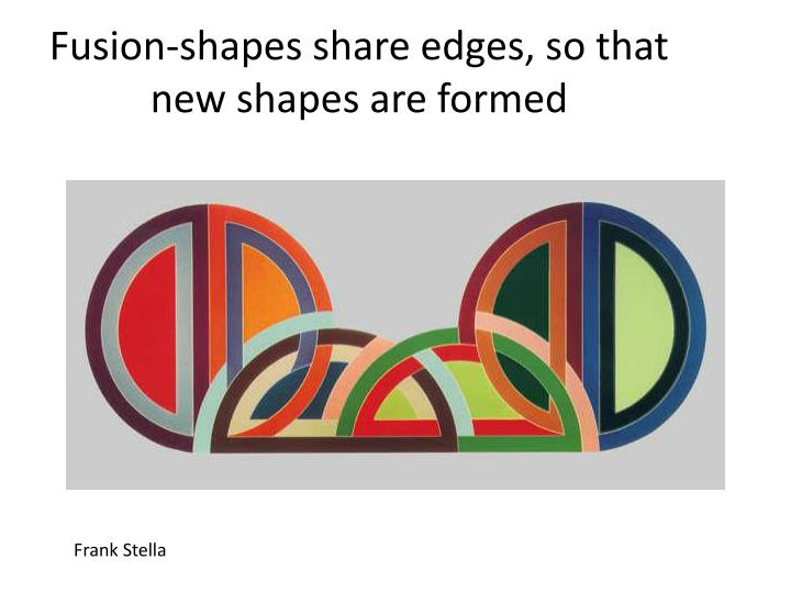 Fusion-shapes share edges, so that new shapes are formed