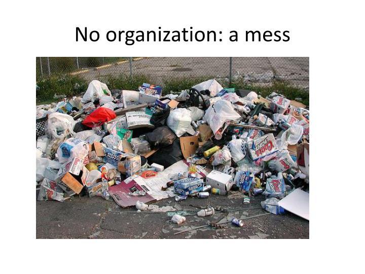 No organization a mess