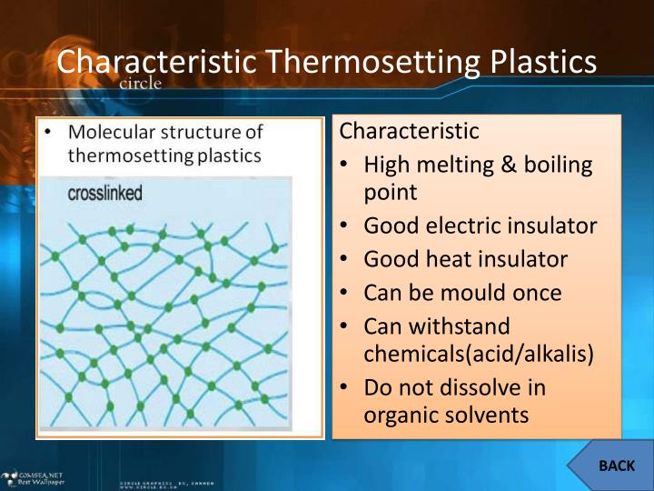 Characteristic Thermosetting Plastics
