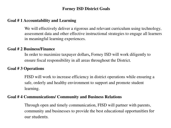 Forney ISD District Goals