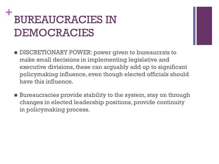 BUREAUCRACIES IN DEMOCRACIES