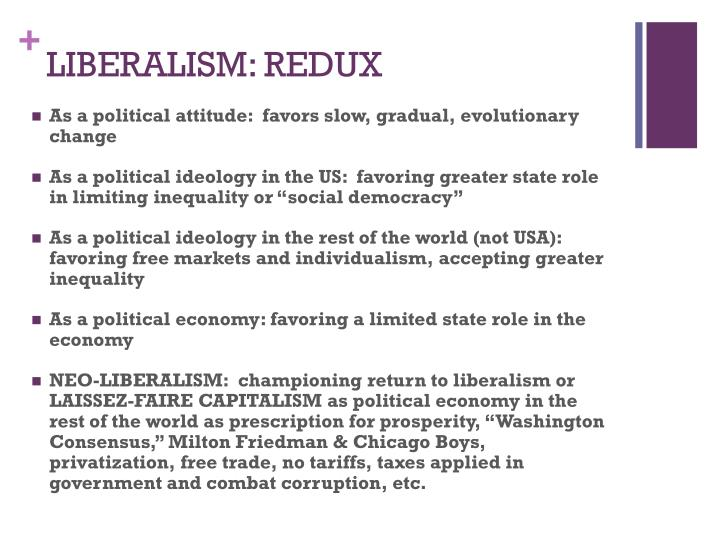 LIBERALISM: REDUX