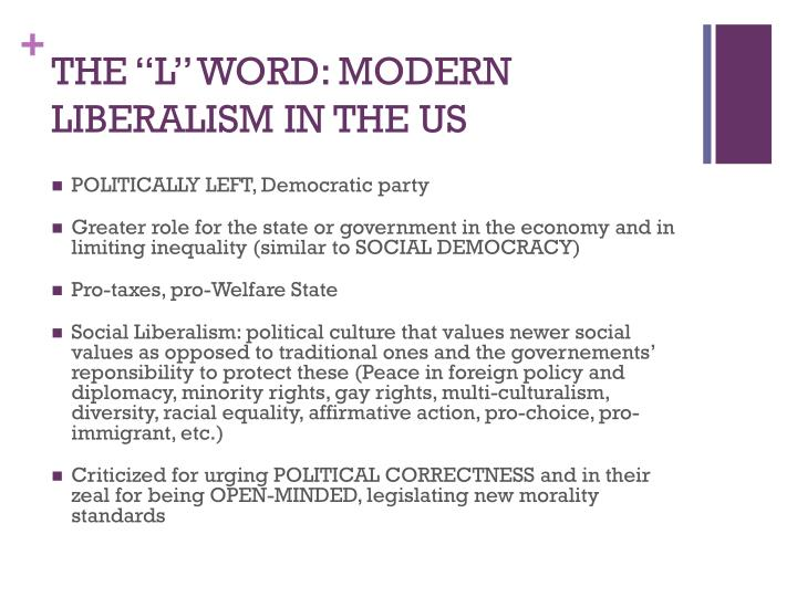 """THE """"L"""" WORD: MODERN LIBERALISM IN THE US"""