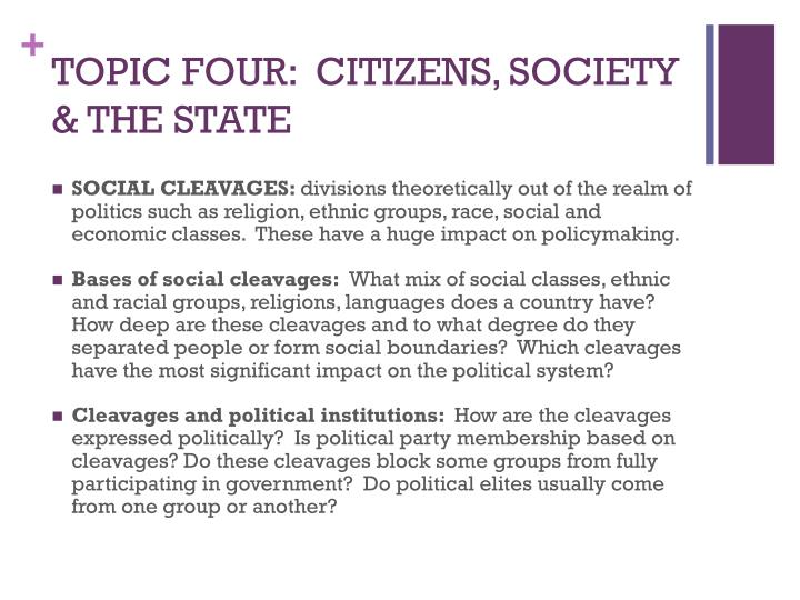 TOPIC FOUR:  CITIZENS, SOCIETY & THE STATE