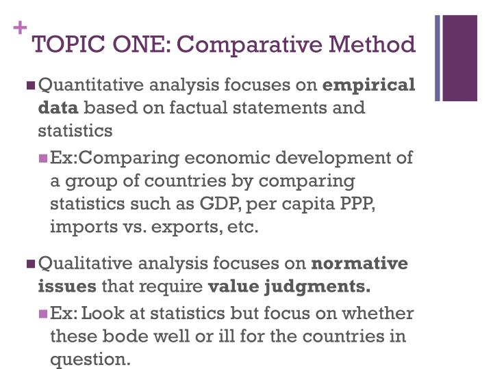 Topic one comparative method