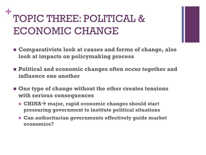 TOPIC THREE: POLITICAL & ECONOMIC CHANGE