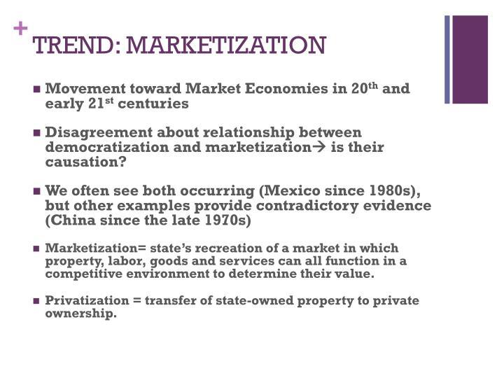 TREND: MARKETIZATION