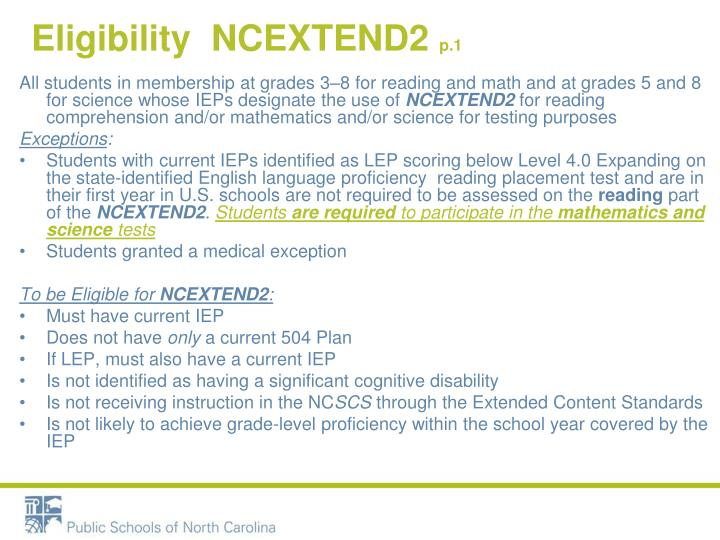 Eligibility  NCEXTEND2
