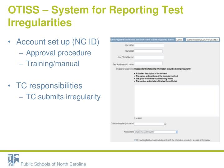 OTISS – System for Reporting Test Irregularities