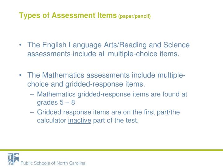 Types of Assessment Items