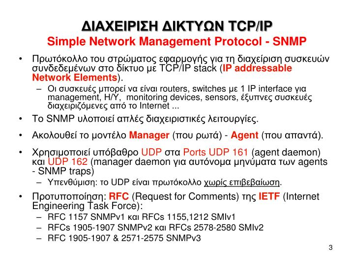 Tcp ip simple network management protocol snmp