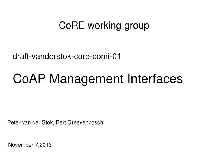 Core working group