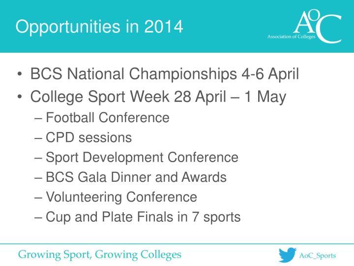 Opportunities in 2014