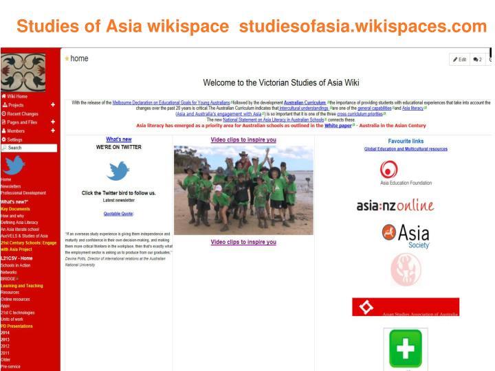 Studies of Asia wikispace  studiesofasia.wikispaces.com