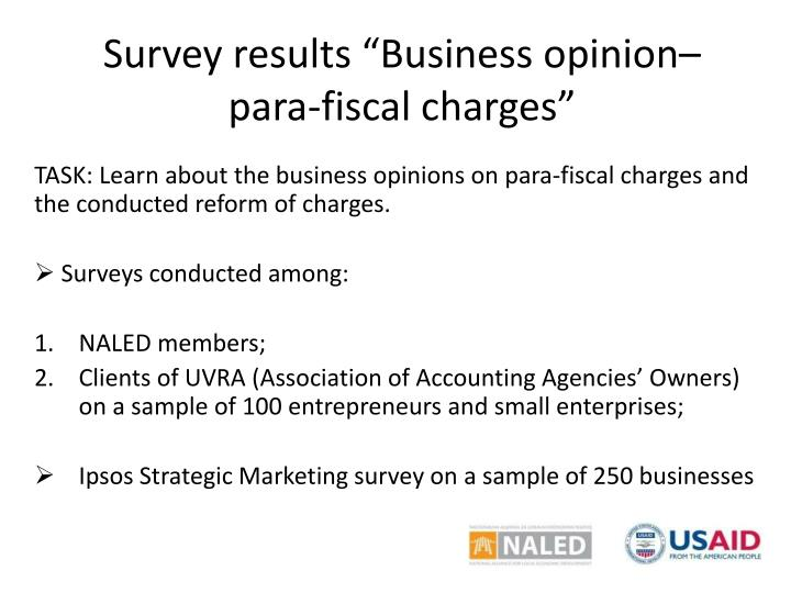 Survey results business opinion para fis cal charges