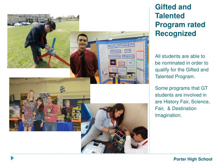 Gifted and Talented Program rated Recognized