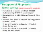 perception of pbl process formal surveys moving from anecdote to evidence
