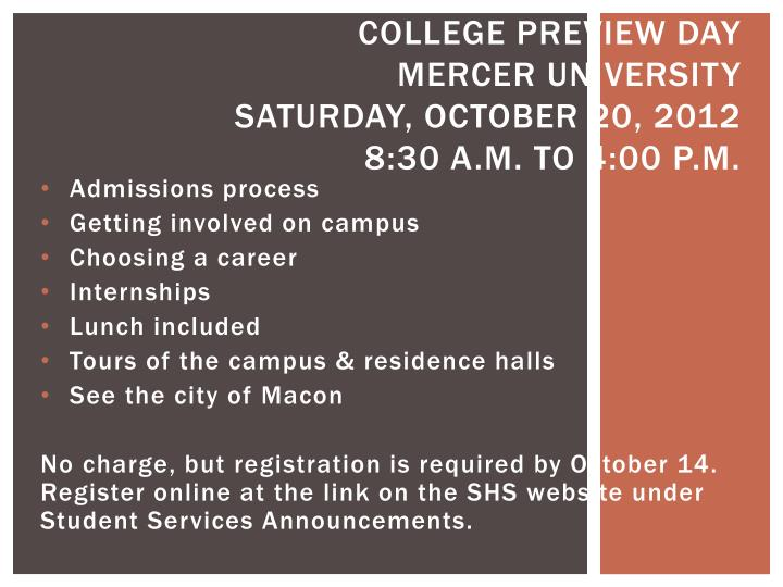 college preview day mercer university saturday october 20 2012 8 30 a m to 4 00 p m
