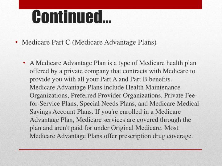 Medicare Part C (Medicare Advantage Plans)