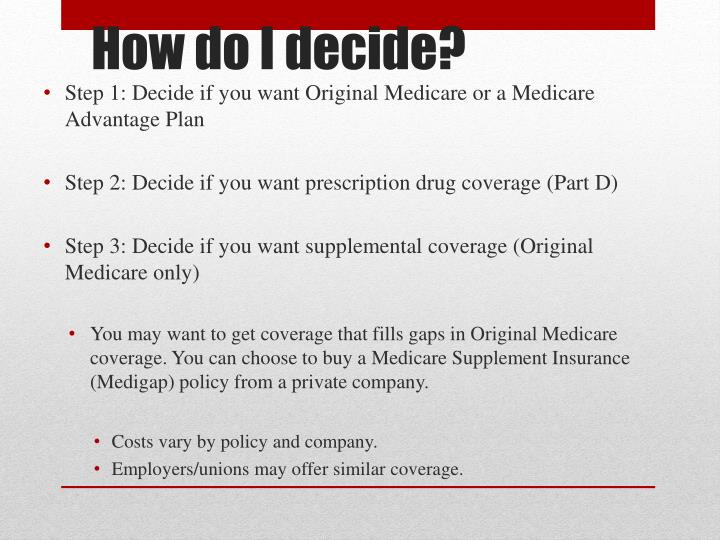 Step 1: Decide if you want Original Medicare or a Medicare Advantage Plan