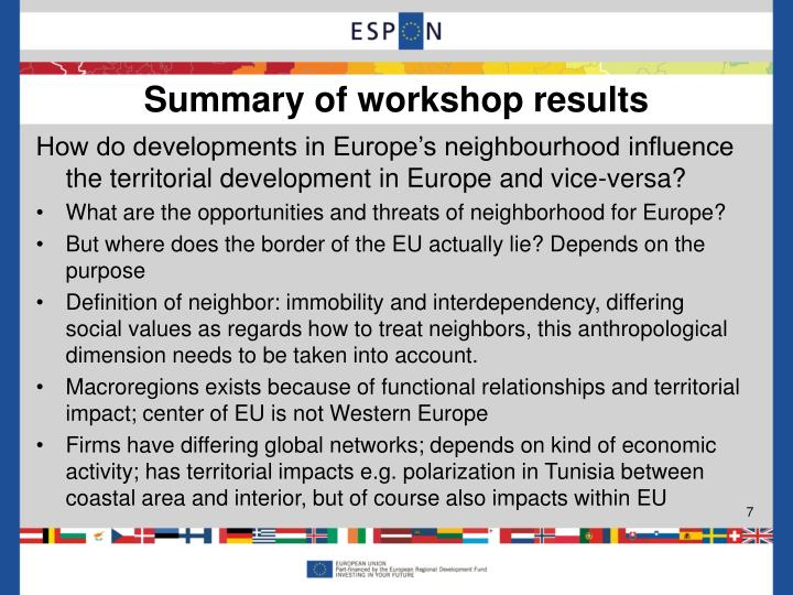 How do developments in Europe's neighbourhood influence the territorial development in Europe and vice-versa?