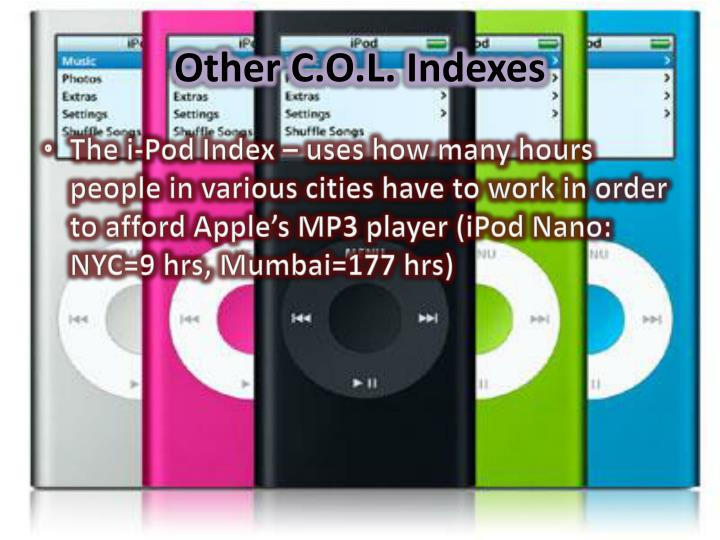 Other C.O.L. Indexes