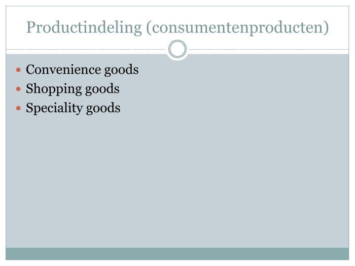 Productindeling consumentenproducten