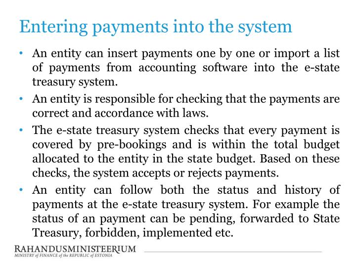 Entering payments into the system