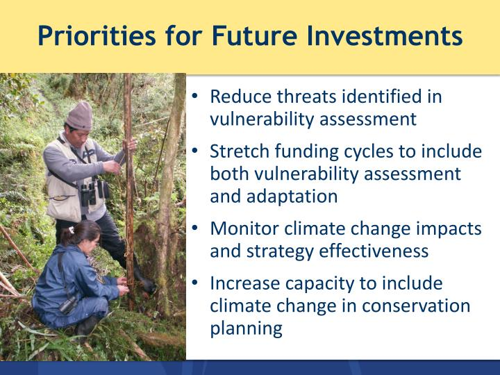 Priorities for Future Investments