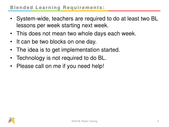 Blended Learning Requirements: