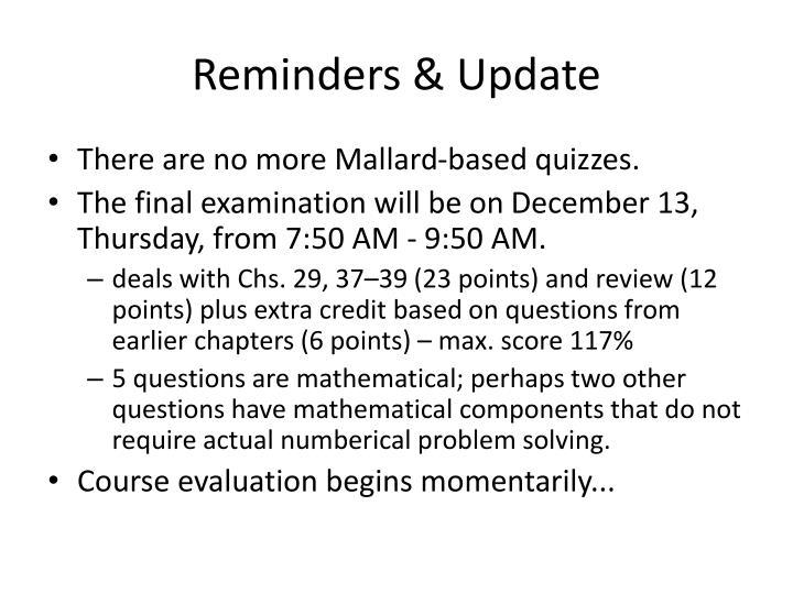 Reminders update