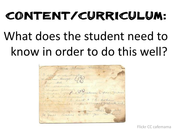 What does the student need to know in order to do this well?