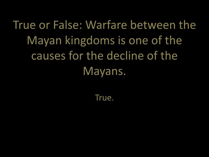 True or False: Warfare between the Mayan kingdoms is one of the causes for the decline of the Mayans.
