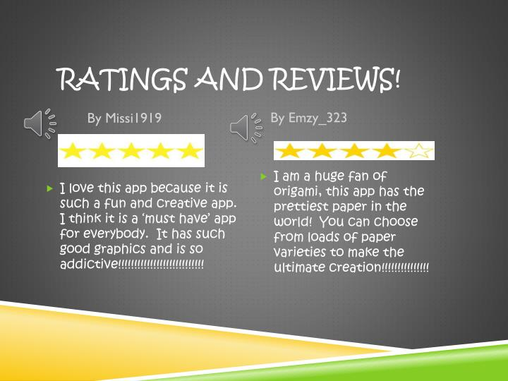 Ratings and Reviews!