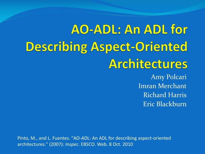 ao adl an adl for describing aspect oriented architectures n.